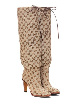Gucci gg canvas knee-high boots