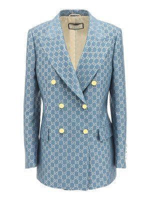 Gucci Gg double breasted wool lamé jacket