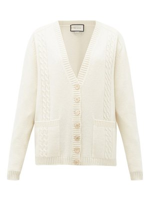 Gucci gg-embroidered cabled-wool cardigan
