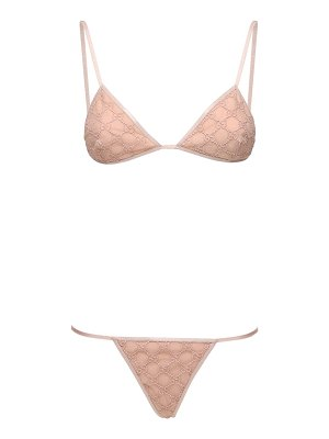 Gucci Gg embroidered tulle bikini