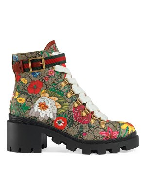 Gucci gg floral ankle boots