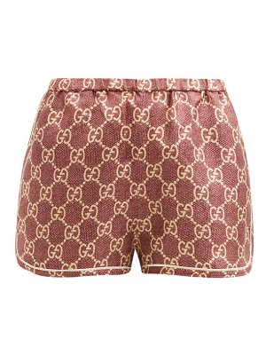 Gucci gg-logo high-rise silk shorts