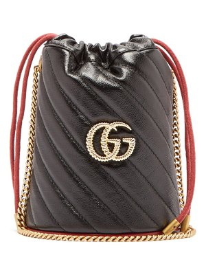 Gucci gg marmont leather bucket bag