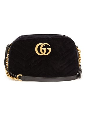 Gucci gg marmont small quilted velvet cross body bag