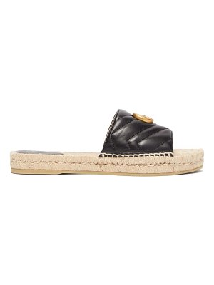 Gucci gg matelassé leather espadrille slides