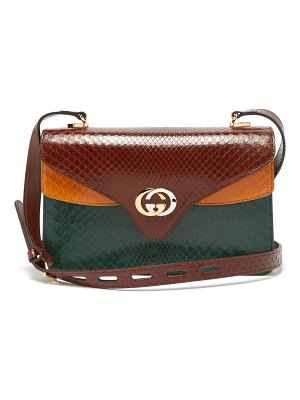 Gucci gg python leather accordion shoulder bag
