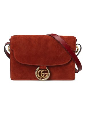 Gucci gg ring small suede shoulder bag