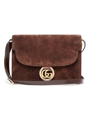 Gucci gg-ring suede shoulder bag