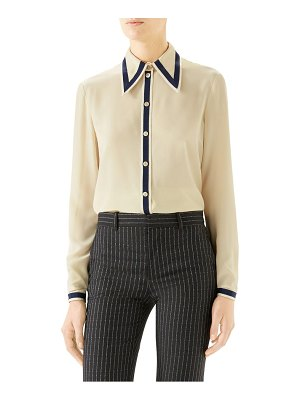 Gucci grosgrain trim silk crepe de chine shirt
