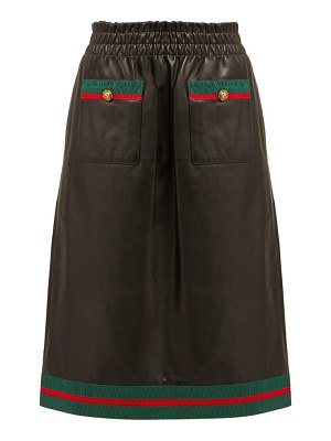 Gucci grosgrain trimmed leather skirt