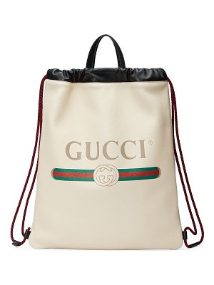 Gucci Gucci-Print Leather Drawstring Backpack