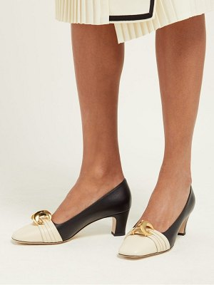 Gucci half moon gg leather pumps