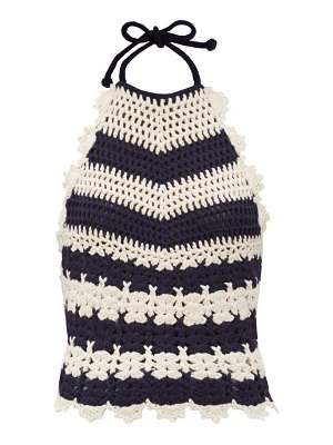 Gucci halterneck striped crocheted wool top