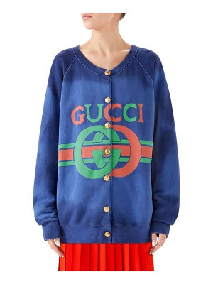 Gucci heavy felted button-front jersey sweatshirt