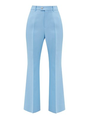 Gucci gg-button silk-blend flared trousers