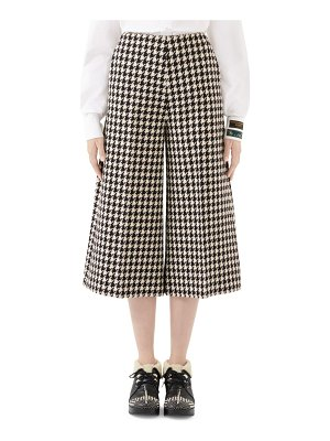 Gucci houndstooth wide-leg wool-blend culottes
