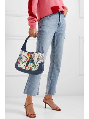 Gucci jackie hobo medium floral-print canvas and textured-leather shoulder bag