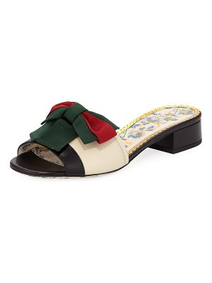 Gucci Leather Slide Sandal with Web Bow