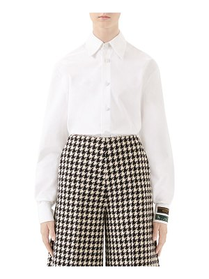 Gucci Label-Cuff Button-Front Poplin Shirt