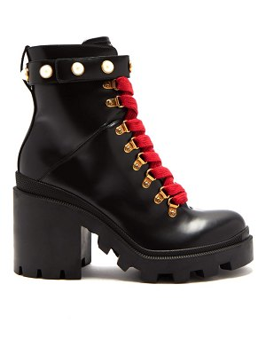 Gucci lace up leather ankle boots