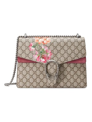 Gucci large floral gg supreme canvas & suede shoulder bag