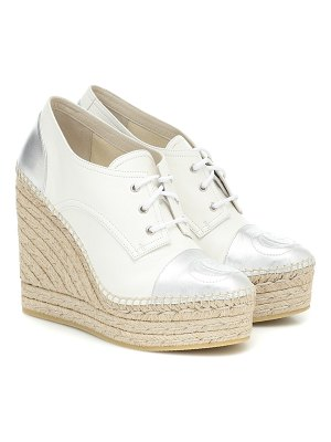 Gucci leather espadrille wedge derby shoes
