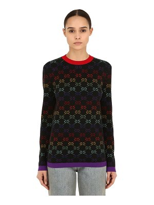 Gucci Logo intarsia wool knit sweater