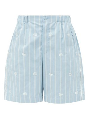 Gucci logo-jacquard striped cotton-poplin shorts