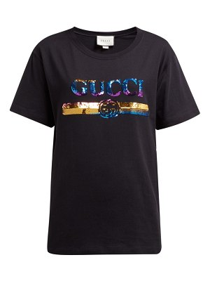 Gucci logo sequin-embellished cotton-jersey t-shirt