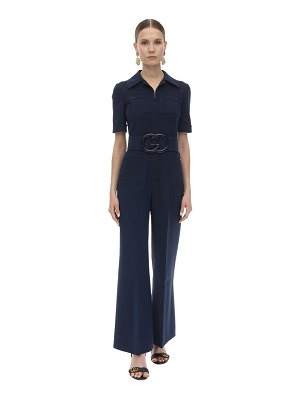 Gucci Long belted wool & silk cady jumpsuit