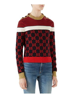 Gucci long-sleeve cotton stripe buttoned sweater