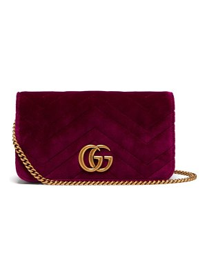 Gucci Marmont Gg Velvet Mini Cross Body Bag