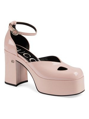 Gucci marvin block heel platform pump