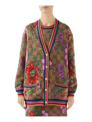 Gucci metallic floral double g wool cardigan