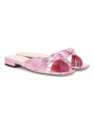 Gucci metallic leather slide sandals