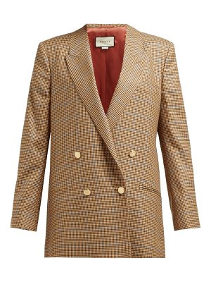 Gucci micro houndstooth double breasted wool blazer