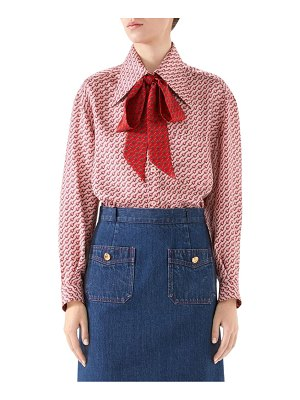 Gucci mini stirrup silk twill tieneck blouse