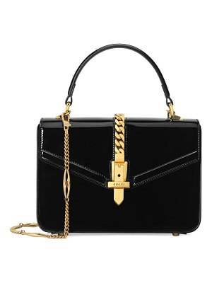 Gucci mini sylvie patent leather top handle bag