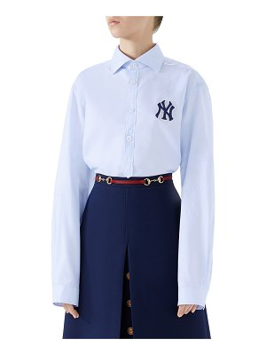 Gucci NY Yankees MLB Button-Front Long-Sleeve Cotton Shirt