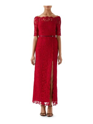 Gucci off the shoulder lace column gown