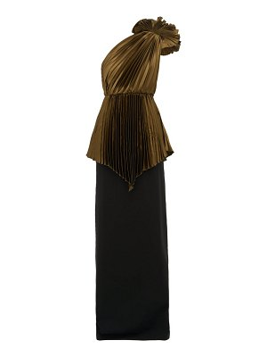 Gucci one shoulder pleated charmeuse and cady gown