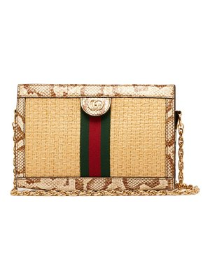 Gucci ophidia small watersnake-trim woven bag