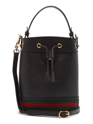 Gucci ophidia web stripe leather bucket bag