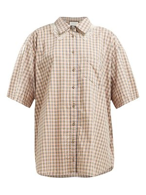 Gucci oversized checked cotton shirt