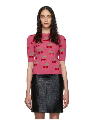 Gucci pink cherries short sleeve sweater