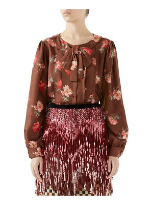 Gucci pleated floral print silk blouse