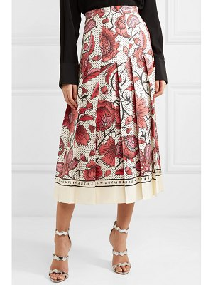 Gucci pleated floral-print silk-twill skirt
