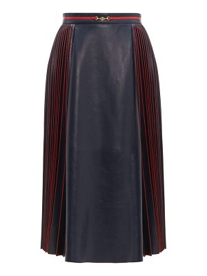 Gucci pleated leather midi skirt