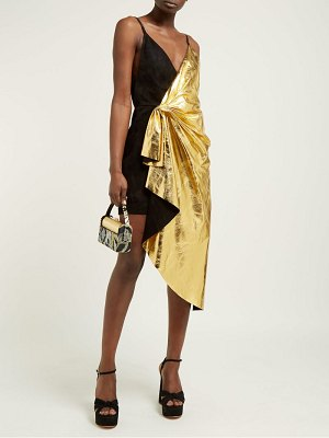 Gucci pleated metallic leather and suede mini dress