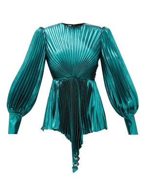 Gucci plissé metallic silk blend blouse
